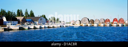 Malpeque Harbour, PEI, Prince Edward Island, Canada - Commercial Fishing Boats and Bait Shanties (Fish Sheds), Panoramic - Stock Photo
