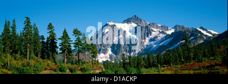 Mt Shuksan above 'Heather Meadows' Alpine Meadow in Mount Baker-Snoqualmie National Forest Area, Washington USA - Stock Photo