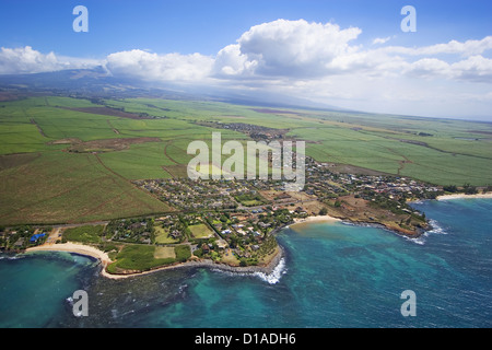 Hawaii, Maui, Paia, Aerial View Of Town Along The North Coast. - Stock Photo