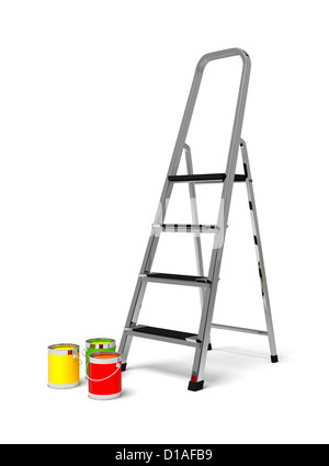 metal stairs stepladder and paint - Stock Photo