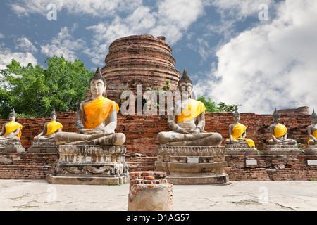 buddha image in wat yai chai mongkol - Stock Photo