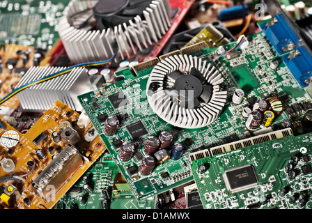 A large number of old circiut boards. - Stock Photo