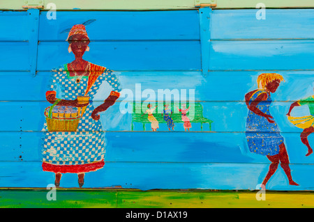 painting,Martinique; Fort de France; caribbean - Stock Photo