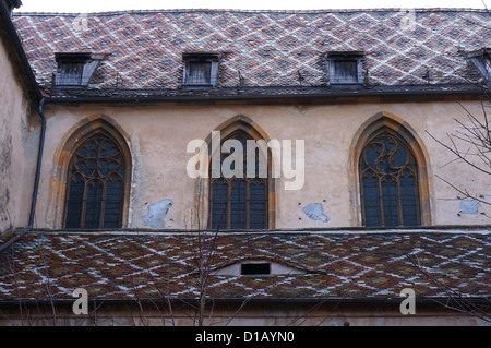 Side view of the evangelical cathedral of Sibiu in Romania - Stock Photo