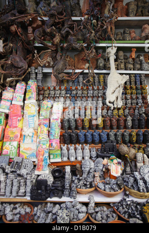 Colourful confectionery, dried llama foetuses and souvenirs in Witches' Market, La Paz, Bolivia - Stock Photo