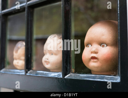 Old doll's heads on display in antique shop in Nijmegen in The Netherlands - Stock Photo