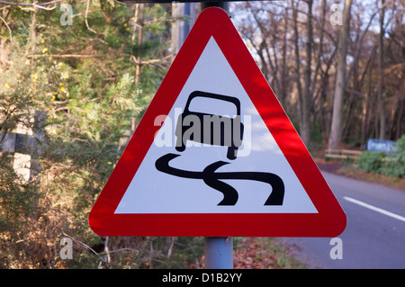 British triangular hazard road sign - Stock Photo