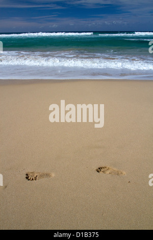 Footprints in the sand at Polihale Beach and State Park located on the western side of the island of Kauai, Hawaii, - Stock Photo