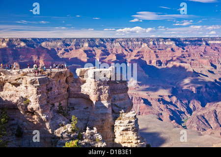 Tourists at Mather Point overlook, South Rim, Grand Canyon National Park, Arizona, USA United States of America - Stock Photo