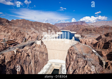 the Hoover hydro-electric power generating station dam wall Arizona United States of America - Stock Photo