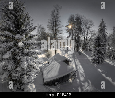 DE - BAVARIA: Wintertime along River Isar at Bad Toelz - Stock Photo