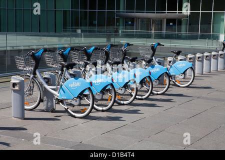 Rental bicycles, European quarter, Kirchberg plateau, Luxembourg City, Europe, - Stock Photo