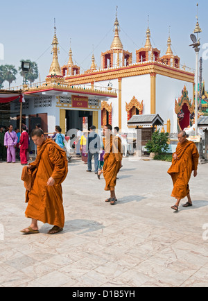 Monks taking part in 'Poy Sang Long' festival where young novice monks are ordained, Wat Jong Klang, Mae Hong Son, - Stock Photo