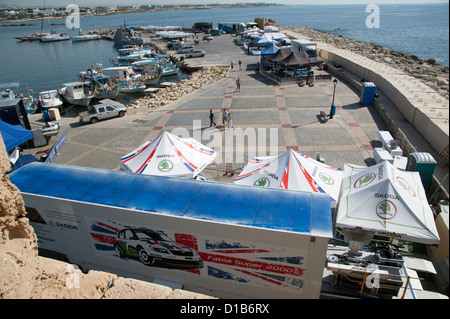 ... Cyprus Rally Skoda UK Motorsport tented area at Paphos harbour Cyprus November 2012 - Stock Photo & Cyprus Rally Skoda UK Motorsport tented area at Paphos Cyprus ...