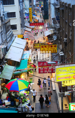 Aerial view on street market in Hong Kong. - Stock Photo