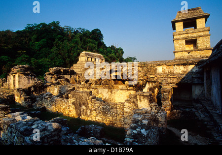 The Palace (El Palacio)  and the Temple of the Inscriptions in background.  Palenque Archaeological Site,  Chiapas - Stock Photo