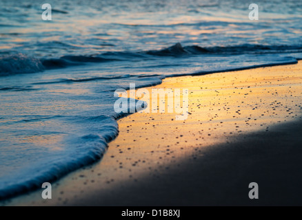 Sunset on the beach. Tarifa, Costa de la Luz, Cadiz, Andalusia, Spain. - Stock Photo