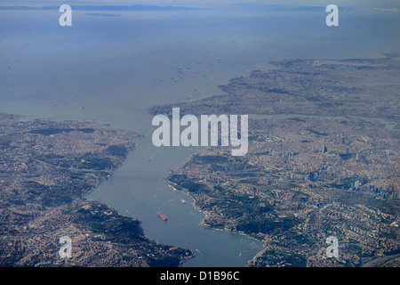 Aerial view of Istanbul Turkey with Golden Horn Bosphorus Strait and Marmara Sea - Stock Photo