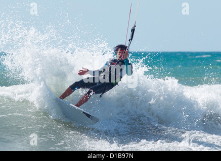 Kitesurf. Tarifa, Costa de la Luz, Cadiz, Andalusia, Spain. - Stock Photo
