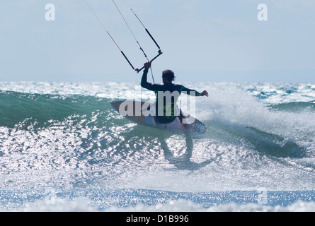 Man surfing wave. Tarifa, Costa de la Luz, Cadiz, Andalusia, Spain. - Stock Photo
