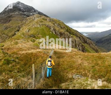 A hillwalker in Snowdonia - Stock Photo
