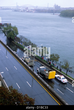 Aerial of Hurricane Damage to New York City Flooding on FDR Drive USA - Stock Photo