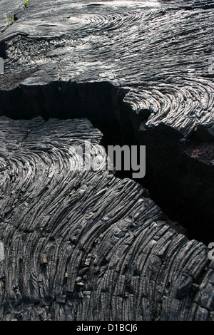 Black pahoehoe lava flow with crack, Hawaii, USA - Stock Photo