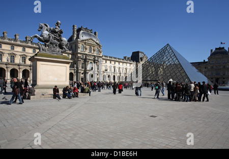 Paris, France, the Louvre glass pyramid Richelieufluegel - Stock Photo