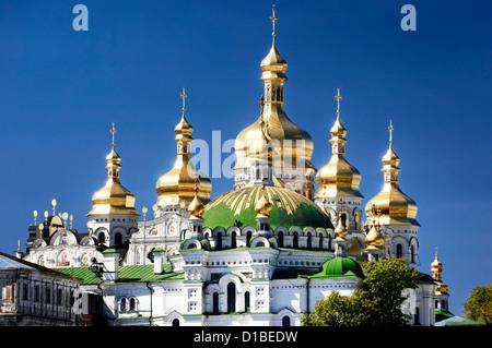 Golden domes of the Mother of God Assumption church. Kyiv Pechersk Lavra, Cave monastery in Kiev, Ukraine. - Stock Photo