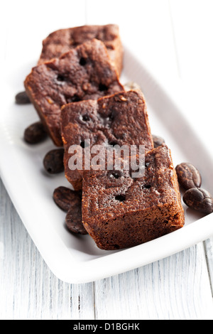 chocolate brownies dessert on white table - Stock Photo