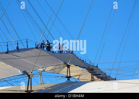 Up at the O2'- High level walkway over the Millenium Dome London United Kingdom Architect: Rogers Stirk Harbour - Stock Photo