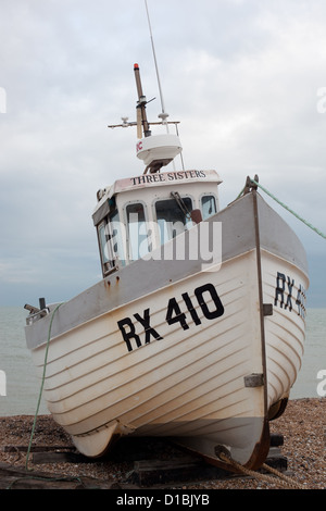Boat on the beach in East Sussex - Stock Photo