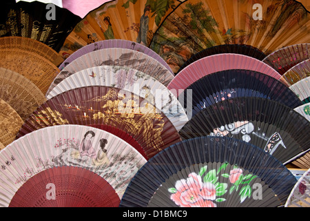 Colourful fans for sale, Yangshuo, Guangxi Province, China - Stock Photo