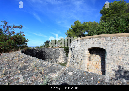 Fortress of the Mont Boron natural park in Nice city - Stock Photo