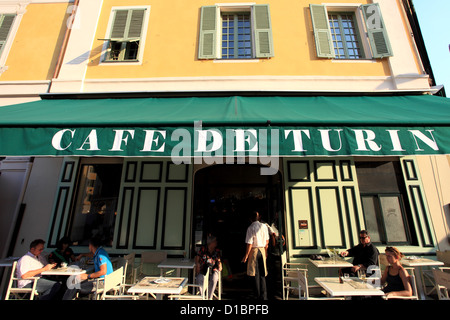 Typical café in the place Garibaldi in Nice city - Stock Photo