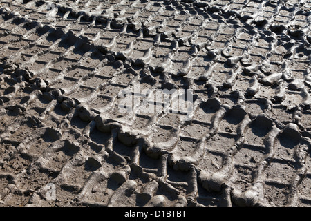 Heavy vehicle tracks in thick mud - Stock Photo