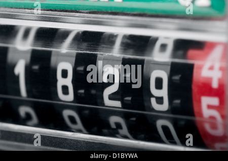 Close up of modern electricity meter counter - Stock Photo