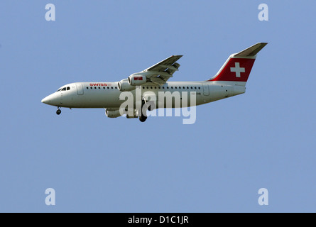 Hanover, Germany, the airline Swiss machine in the air - Stock Photo