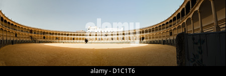 Panoramic view of the inside of the historic bull fight ring in Ronda, Spain - Stock Photo