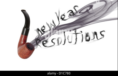 smoke from a smokers pipe saying new year resolutions on white with clipping path stock