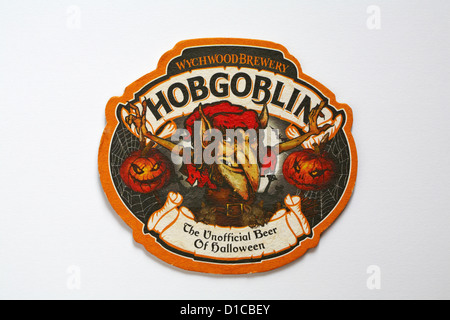 Beer mat Wychwood Brewery Hobgoblin The Unofficial Beer of Halloween isolated on white background - Stock Photo
