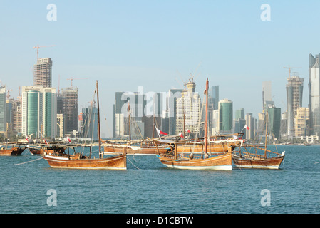 Dhows from the Qatari historical collection on display in Doha Bay ahead of national day Dec 2012 in Qatar, Arabia, - Stock Photo