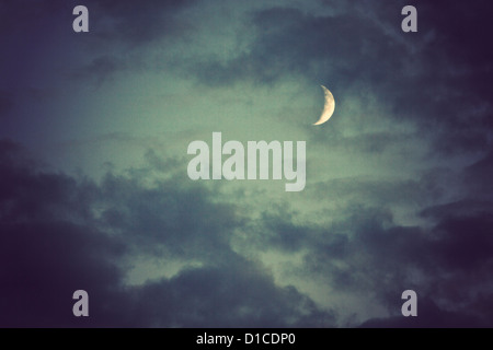 moon and clouds at night - Stock Photo