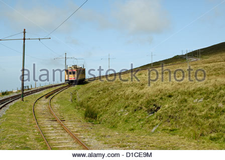 train of the Manx Electric Railway driving to Snaefell mountain on the Isle of Man - Stock Photo