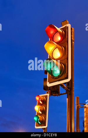 Red Amber Green traffic lights - Stock Photo