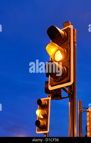 Amber traffic lights - Stock Photo