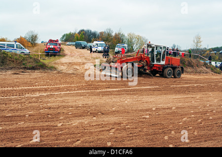 Preparation - alignment of the racing route to competitions. Episode 4. - Stock Photo