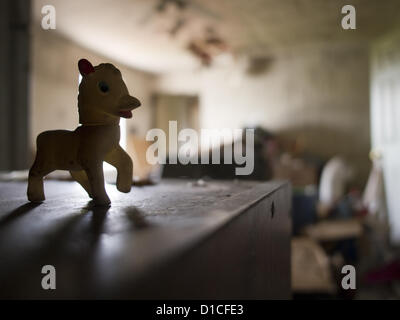 April 30, 2012 - Woonsocket, Rhode Island, United States - A child's toy of a small horse remains, along with other - Stock Photo