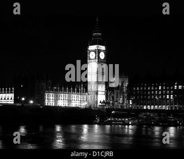 View of River Thames, Big Ben clock tower and the Palace of Westminster (Houses of Parliament), UNESCO World Heritage - Stock Photo