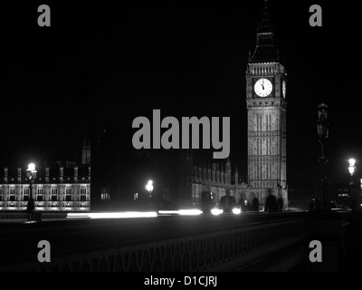 View of Westminster Bridge,Big Ben clock tower and the Palace of Westminster (Houses of Parliament), UNESCO World - Stock Photo